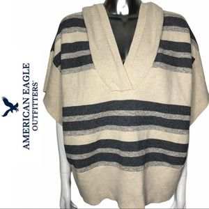 American Eagle Outfitters Striped Poncho with Hood